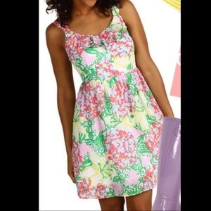Lilly Pulitzer Floral Swiss Dot Dress Sz 4 EUC